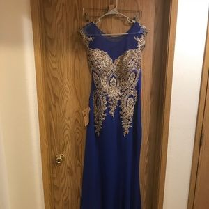 Dresses & Skirts - Size 22 Cobalt Blue & Gold Formal w/train